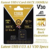 Amplim 128GB Micro SD SDXC V30 A1 Memory Card Plus Adapter Pack (Class 10 U3 UHS-I MicroSD XC Extreme Pro) 128 GB Ultra High Speed 667X 100MB/s UHS-1 TF MicroSDXC 4K Flash - Cell Phone, Drone, Camera (Color: V30 Black 128, Tamaño: MicroSD)