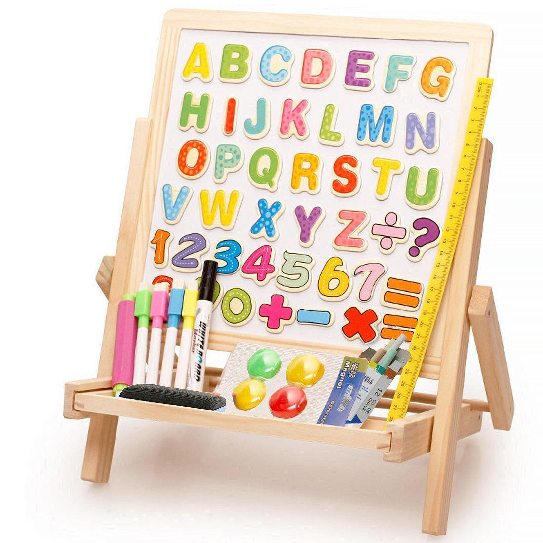 Lewo 3 in1 Wooden Magnetic Art Easel Double Sided Drawing Whiteboard Toys for Kids