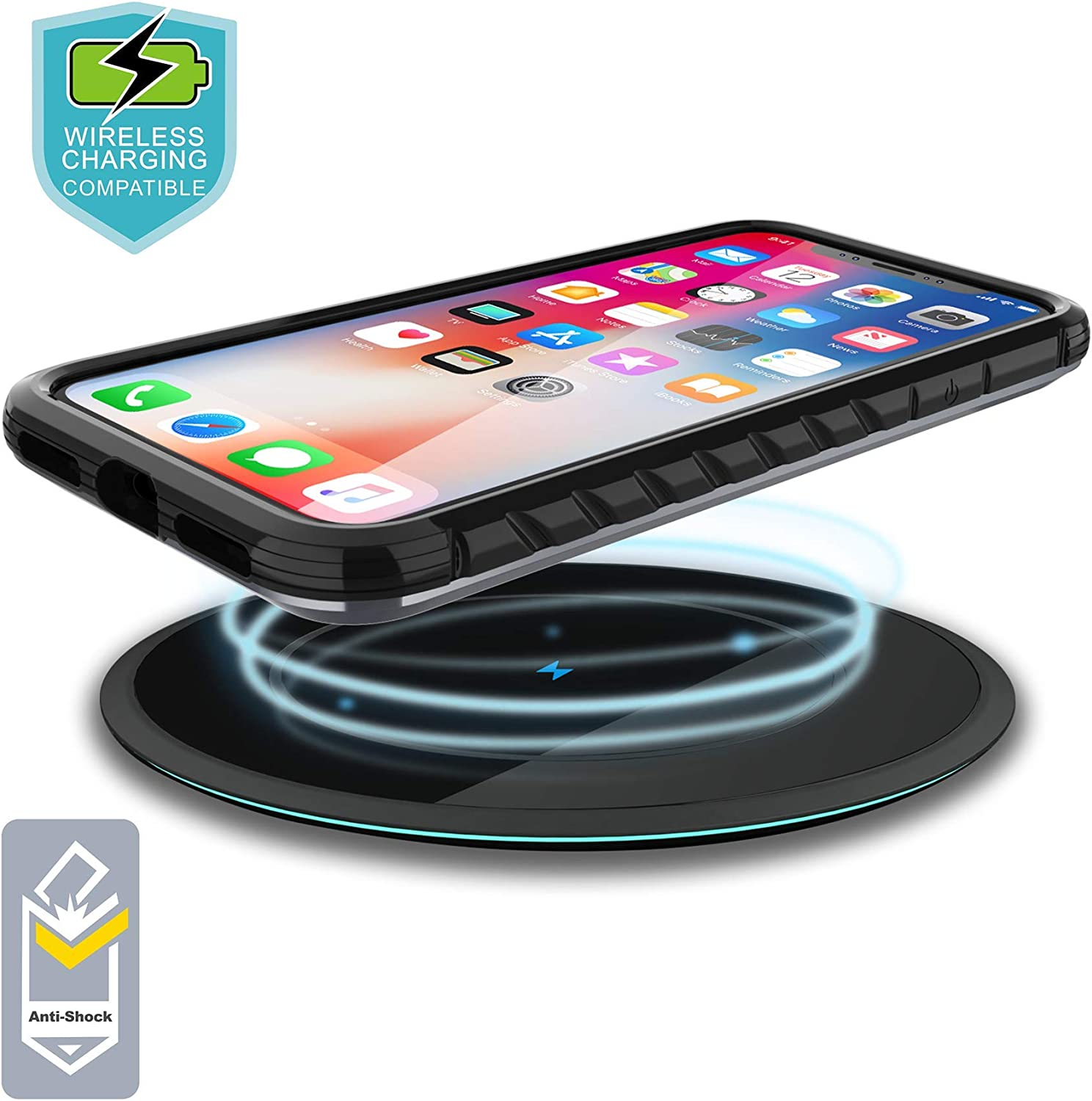 iPhone XXs Case Protective, VORCSBINE Defender Shock Absorption Bumper Protective Case Support Wireless Charging Black