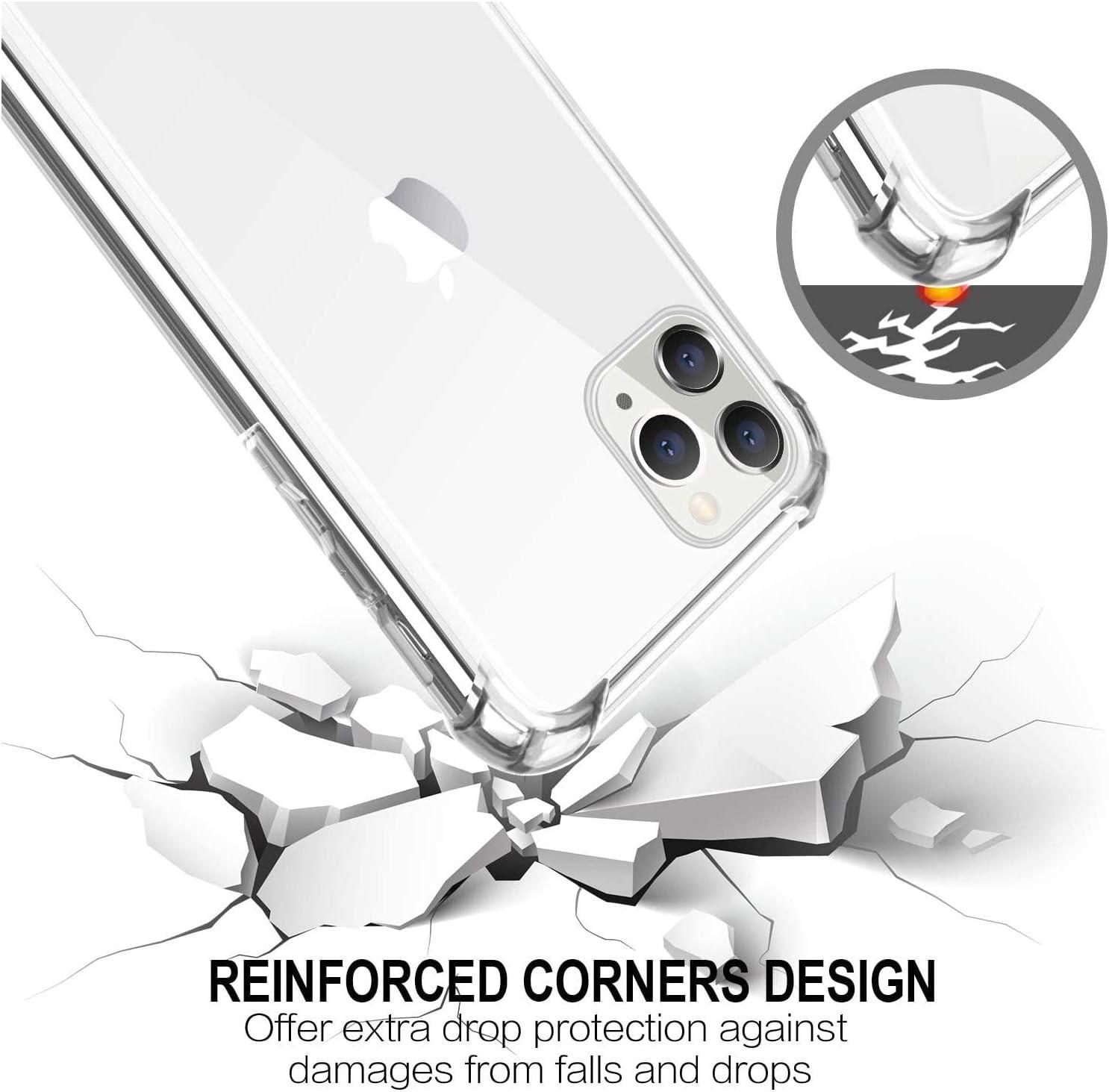 Esquinas Reforzadas Anti-Choques Anti Ara/ñazos protecci/ón Case para iPhone 11 Pro MAX 6.5 Carcasa Transparente TPU Suave Silicona Case PC Panel Trasero Funda Compatible con iPhone 11 Pro MAX