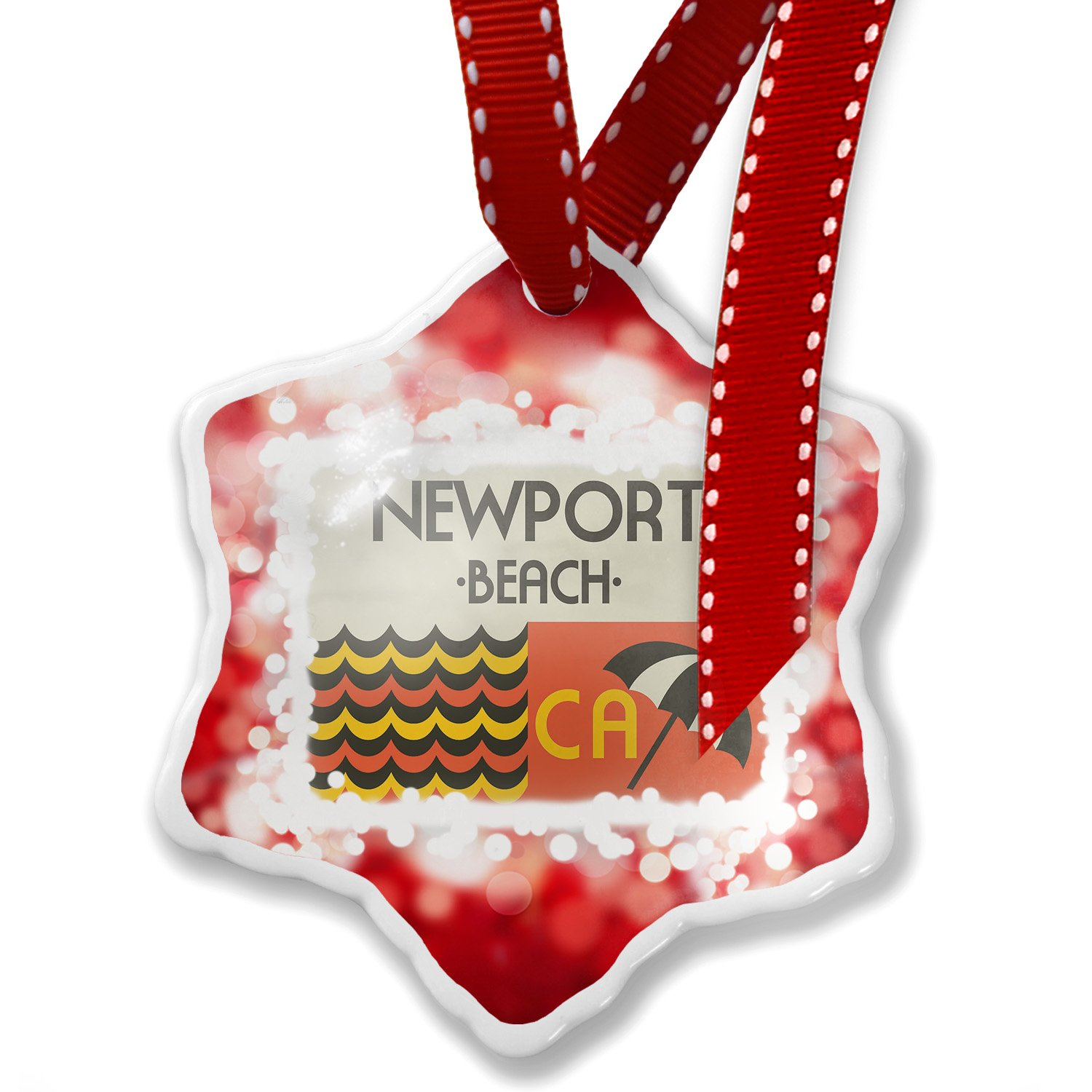 Christmas Ornament US Beaches Retro Newport Beach, red - Neonblond