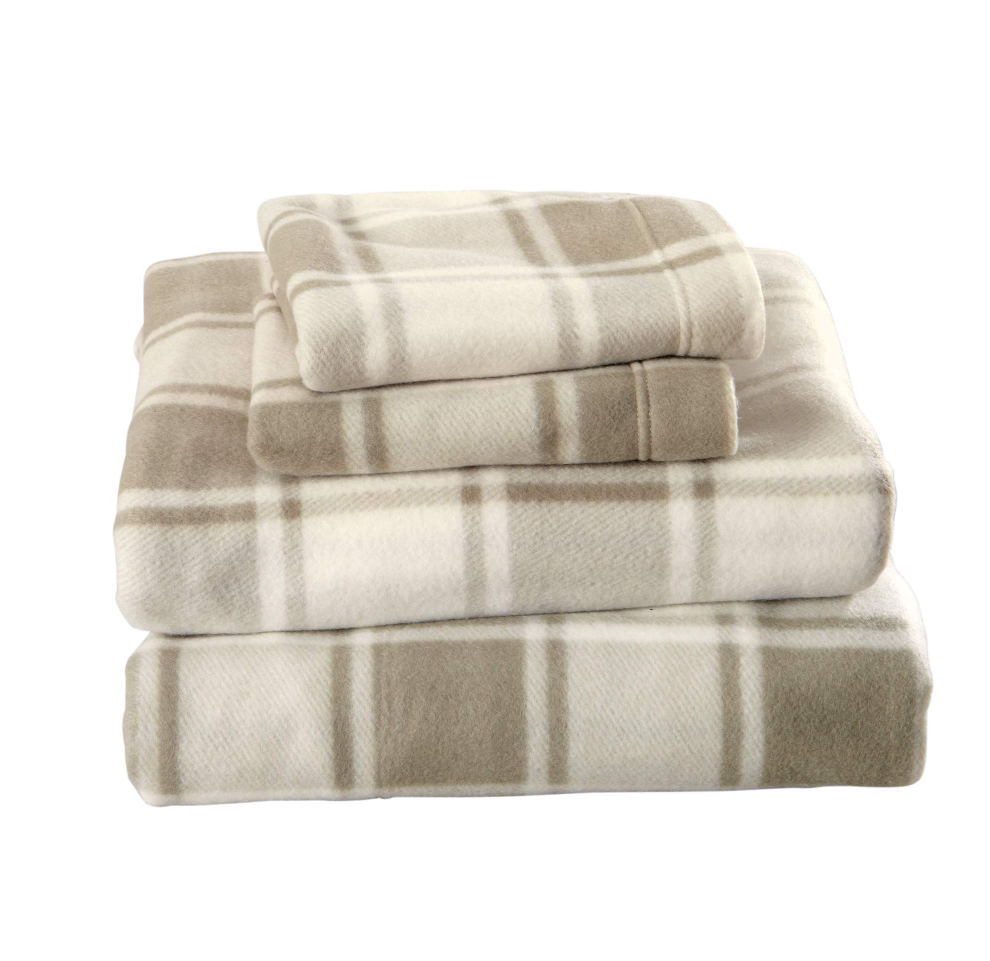 Great Bay Home Super Soft Extra Plush Plaid Polar Fleece Sheet Set. Cozy, Warm, Durable, Smooth, Breathable Winter Sheets with Plaid Pattern. Dara Collection Brand. (Full, Taupe) by Great Bay Home (Image #3)