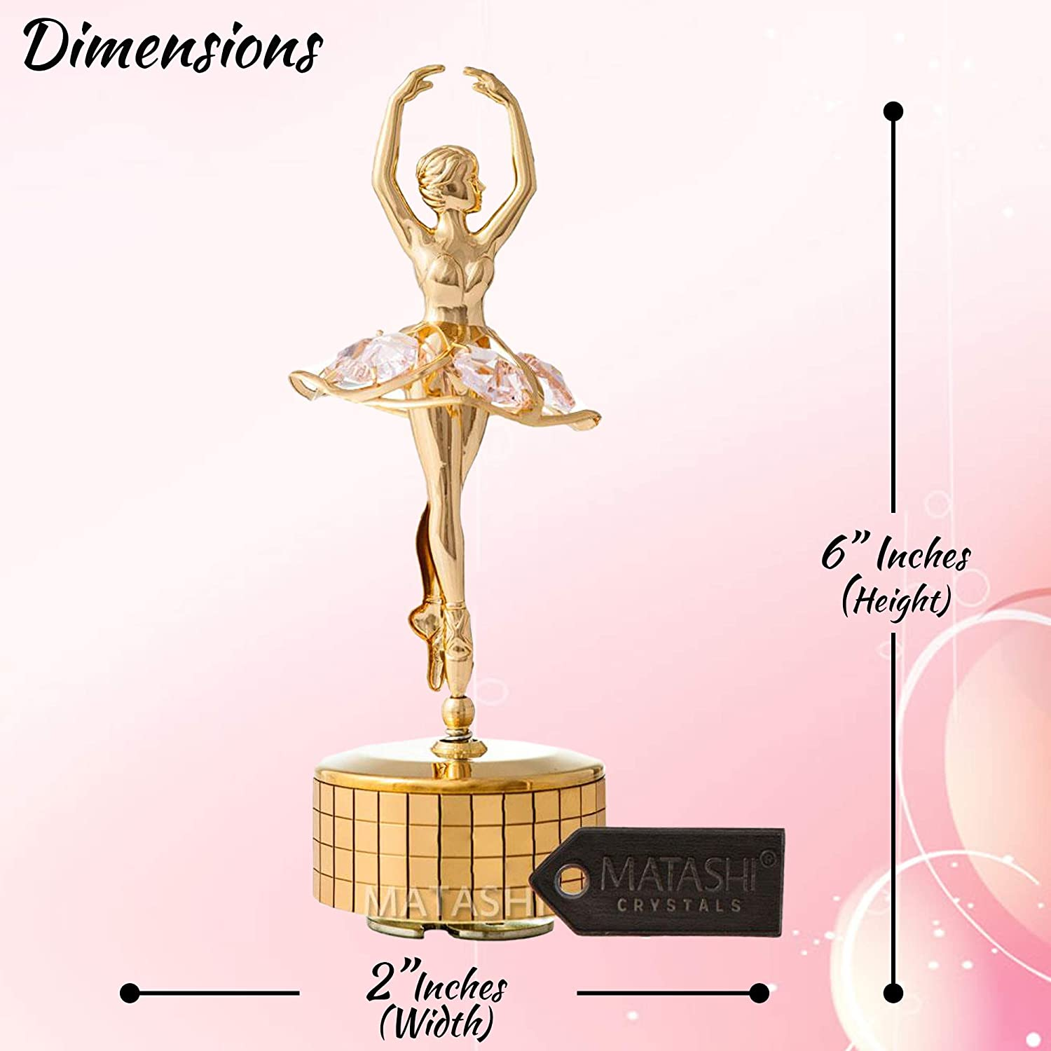 Home Bedroom Decor Tabletop Ornaments Gift for Musician Wife Mom on Mothers Day Christmas Valentines Day Birthday Matashi 24k Gold Plated Ballet Dancer Wind-Up Music Box with Pink Crystals Memory