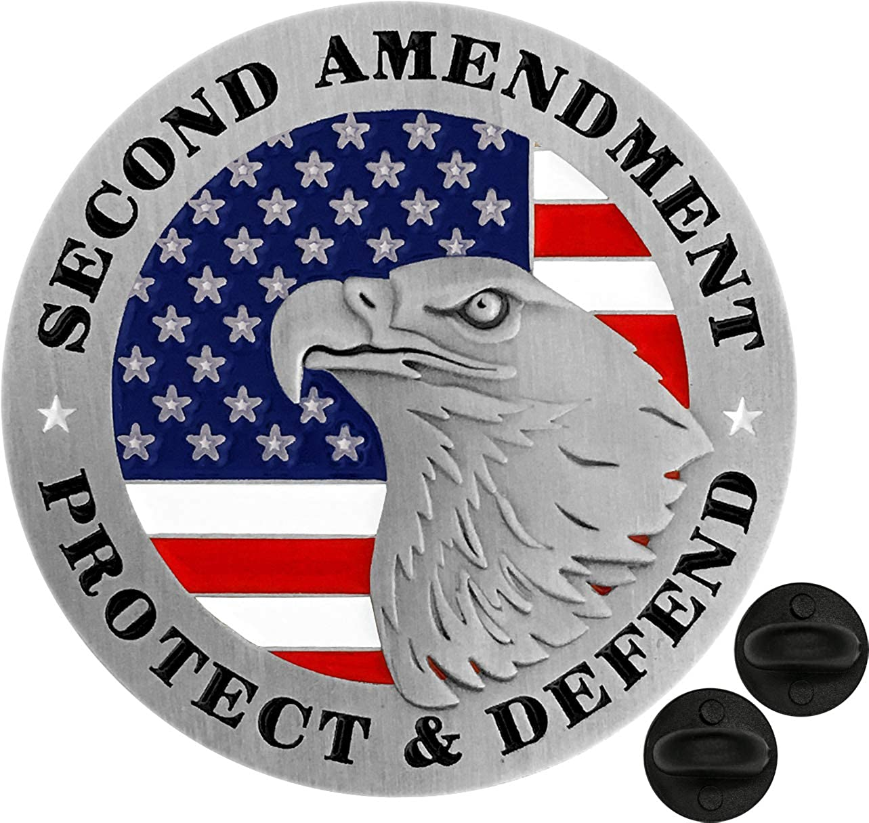 2ND AMENDMENT AMERICAN FLAG RIGHT TO BEAR ARMS METAL CAR TAG GUNS--GREAT TAG!!