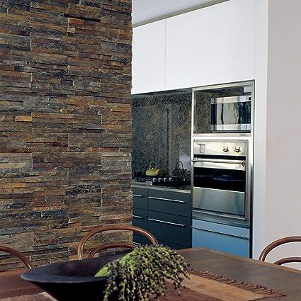 Ledgestone Rustic Multi Colour Split Face Slate Wall 400x122 Tiles