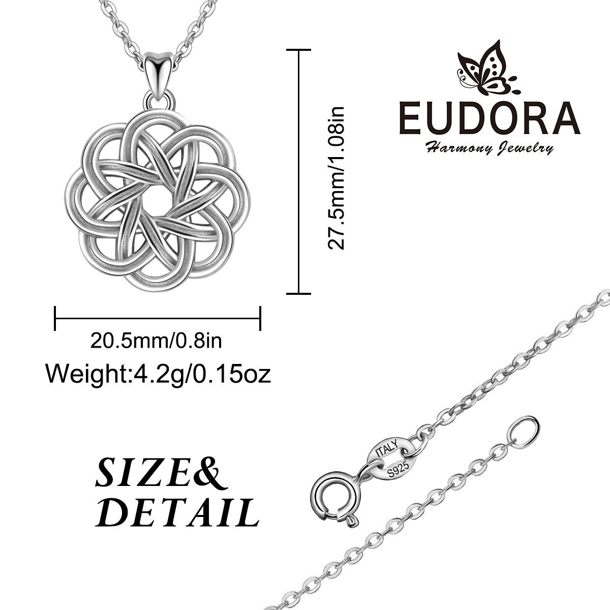 EUDORA Retro 925 Sterling Silver Irish Lucky Celtic Knot Pendant Necklace for Women, 18 Chain 18 Chain CYD176-CYB001-NL41-18
