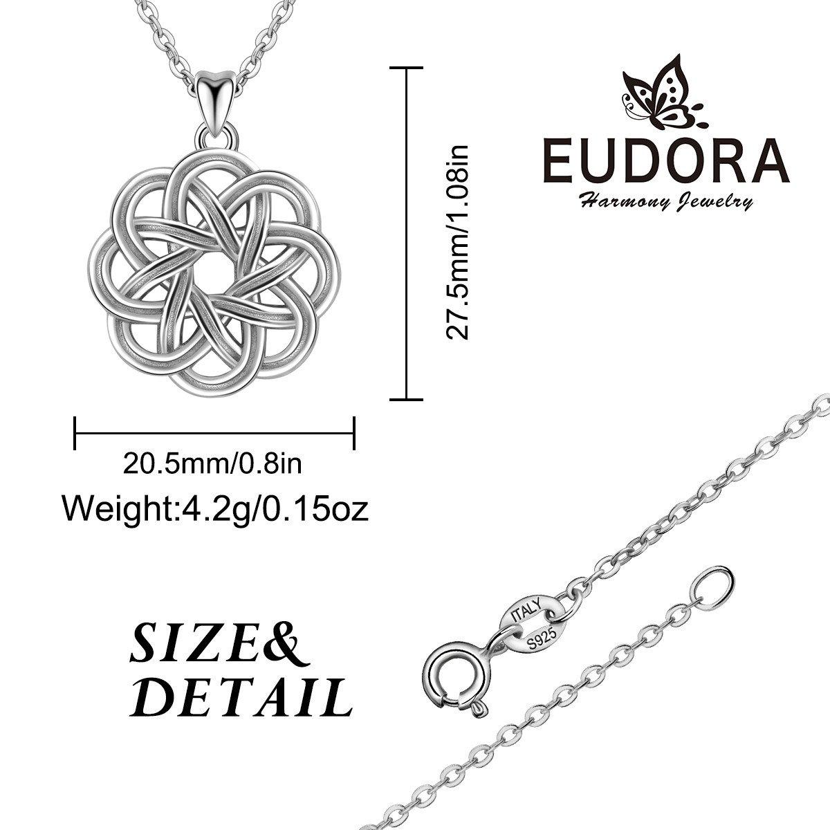 EUDORA Retro 925 Sterling Silver Irish Lucky Celtic Knot Pendant Necklace for Women, 18 Chain 18 Chain CYD176-CYB001-NL41-18