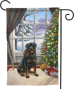 Only Pineapple Scottish Christmas Rottweiler Dog Tree Seasonal Family Welcome Double Sided Garden Flag Outdoor Funny Decorative Flags for Garden Yard Lawn Decor Party Gift Many Sizes