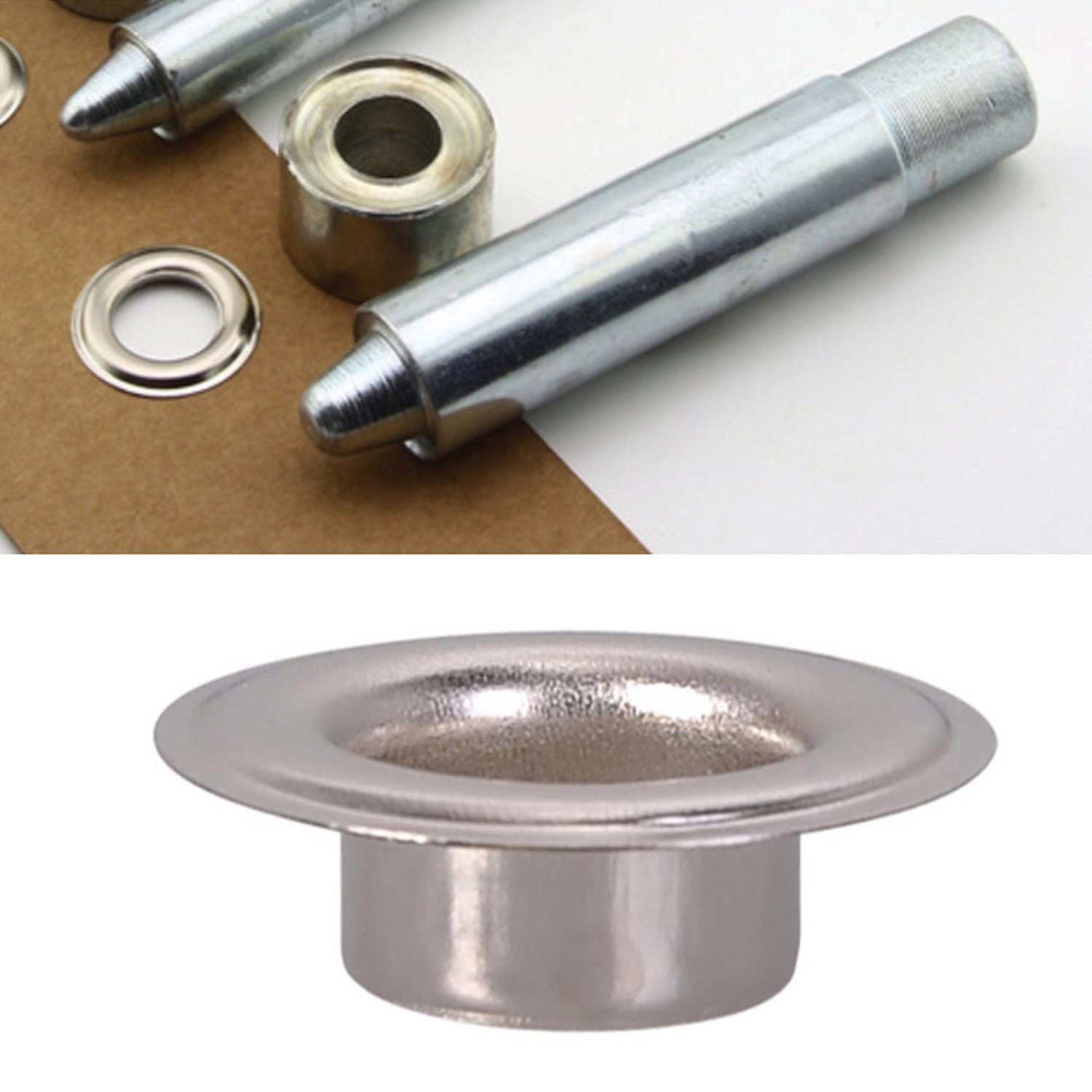 Trimming Shop Set of 3: Die Set, Hollow Hole Punch, and 100 Pieces of 4mm Silver Eyelets - Grommet Setting Tool Kit for For Clothing, Leathercraft and Scrapbooking - Washers Included