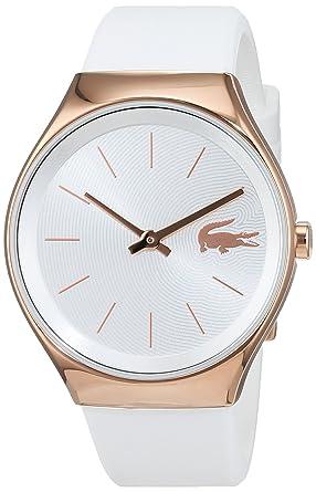Amazon.com  Women s Lacoste Valencia White Rubber Band Watch 2000966 ... 3e1c12a14e