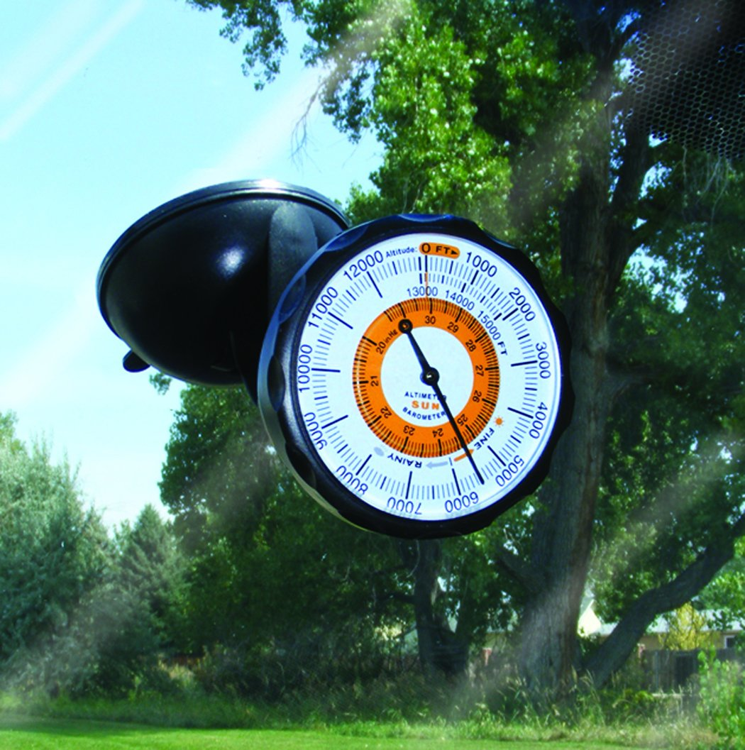 Sun Company AltiPort - Detachable Windshield and Dashboard Altimeter and Barometer | Altimeter for Cars and Trucks | Reads Altitude from 0 to 15,000 Feet