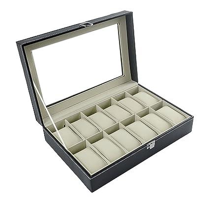 Feibrand - Caja Relojes, Estuche/Guarda Relojes, Hombre, para 12 Relojes, Negro: Amazon.es: Bricolaje y herramientas