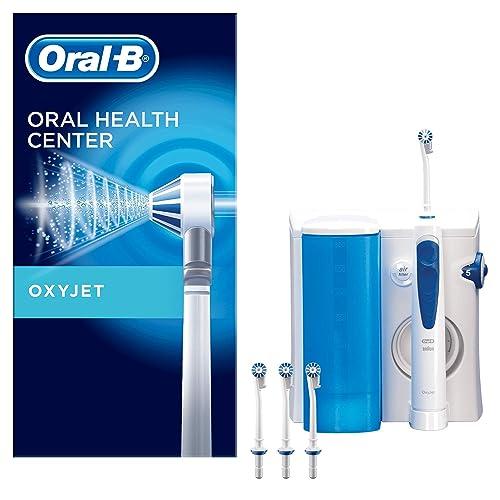 Oral B Oxyjet Sistema de Limpieza Irrigador Bucal con Tecnología Braun 4 Cabezales