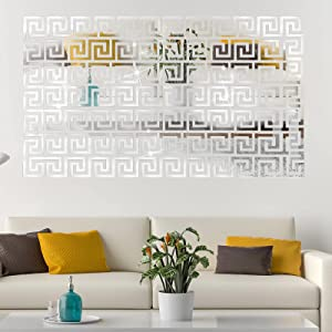 Removable Acrylic Mirror Setting Wall Sticker Decal Geometric Greek Key Pattern for Home Living Room Bedroom Decor (Silver,48 Pieces)