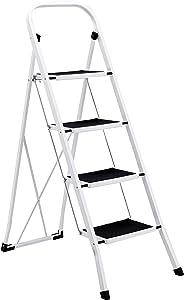 AmazonBasics Step Stool - 4-Step, Steel with Anti-slip Mat, 200-Pound Capacity, White and Black