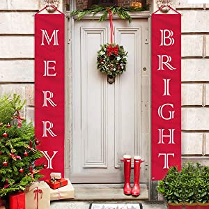 ORIENTAL CHERRY Christmas Decorations Outdoor Indoor - Merry Bright Porch Sign - Red Xmas Decor Banners for Home Wall Door Apartment Party