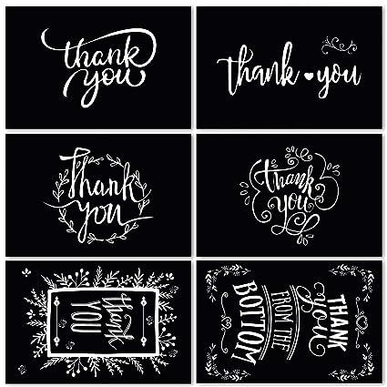 Ohuhu 48 tarjetas de agradecimiento, 6 diseños de pizarra ...