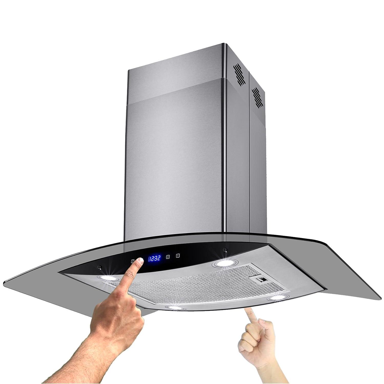 AKDY New 36 European Style Island Mount Stainless Steel Glass Range Hood Vent Touch Control AZ-H603B-90