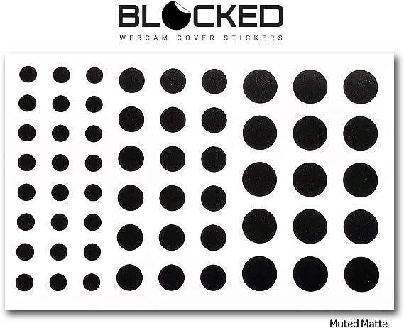 BLOCKED Webcam/Camera Vinyl Covers | 57 Low-Tack Restickable Webcam Sticker | 3-Sizes | Black (Muted Matte)