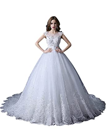 Vimans Womens Elegant Long Scoop Lace Wedding Dresses with Beads, Ivory 2