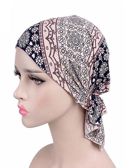 d15b356f04d Women s Head Scarf Headwear Pre Tied Bandana Turban Beanie Silk Feeling  Sleep Hair Wrap Hat Floral