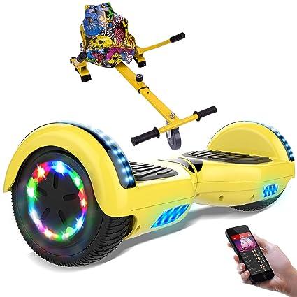 RCB Patinete Eléctrico Self Balancing Scooter de Auto-Equilibrio Luces LED Integradas con Hoverkart Go-Kart Bluetooth Regalo para Niños y Adultos ...