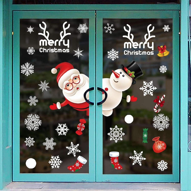 heekpek Pegatinas de Navidad Adhesivos para Ventanas Decoraci/ón Navide/ña Santa Claus Mu/ñeco de Nieve Pegatinas