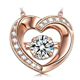 """Amazon Price History for:Dancing Heart """"Beautiful Love"""" ♥Valentines Day Gift♥ 925 Sterling Silver Rose Gold Plated Necklace Fine Jewelry [Luxury Jewelry Box]"""