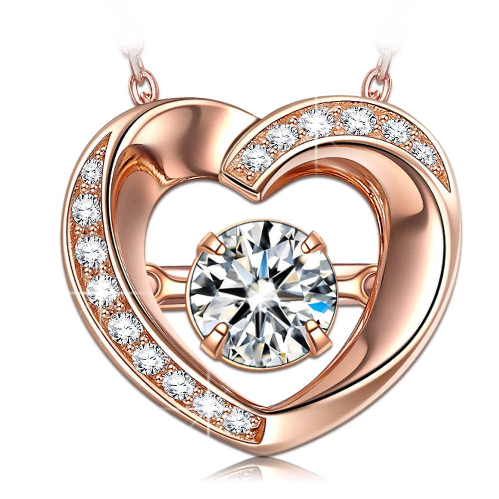 DANCING HEART Dangle Heart Rose Gold Necklaces for Women 925 Sterling Silver Necklaces for Girlfriend Wife Jewelry for Women for Her Birthday Gift Pendant Necklace
