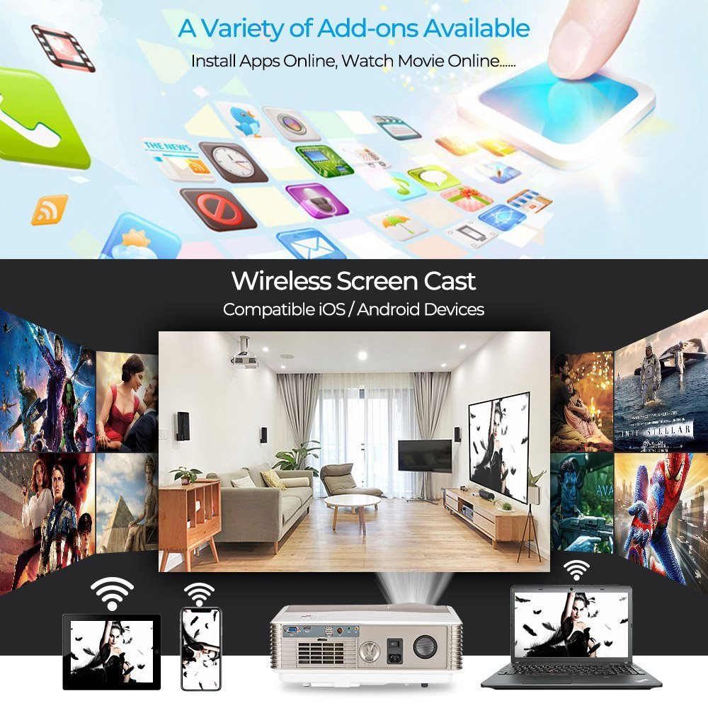 WiFi Movie Projectors Smartphones for Gaming Outdoor Entertainment Arts Videos VGA Keystone HDMI USB WIKISH Portable Wireless Home Cinema Projector HD 720P 3300 Lumen with Bluetooth Android 6.0