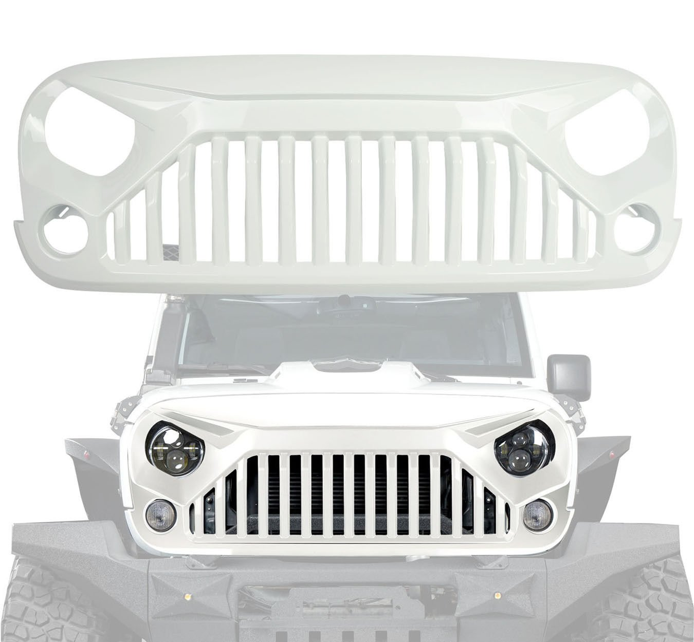 White Gladiator Vader Front Grille Accessories for Jeep Wrangler 2007-2017 Rubicon Sahara Sport JK JKU 4x4Force