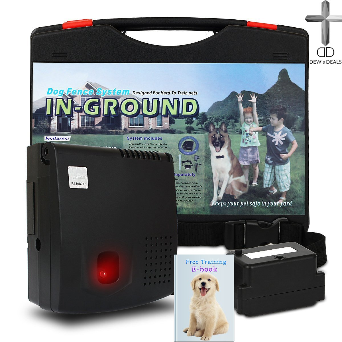 In-Ground professional grade electronic fence with adjustable wireless shock collar for Dogs by Dog Zone | Remote Underground e-Fence System that Keeps Willful Pets Close and Your Yard Beautiful