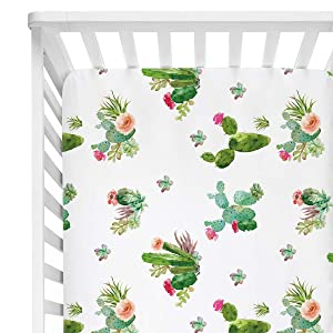 """Sahaler Succulents Baby Crib Sheets for Boy Girl, Watercolor Cactus Fitted Crib Bed Mattress Sheets, Boho Baby Gift, Nursery Bedding fits Standard Crib Mattress 28x52"""" (Cactus Floral)"""
