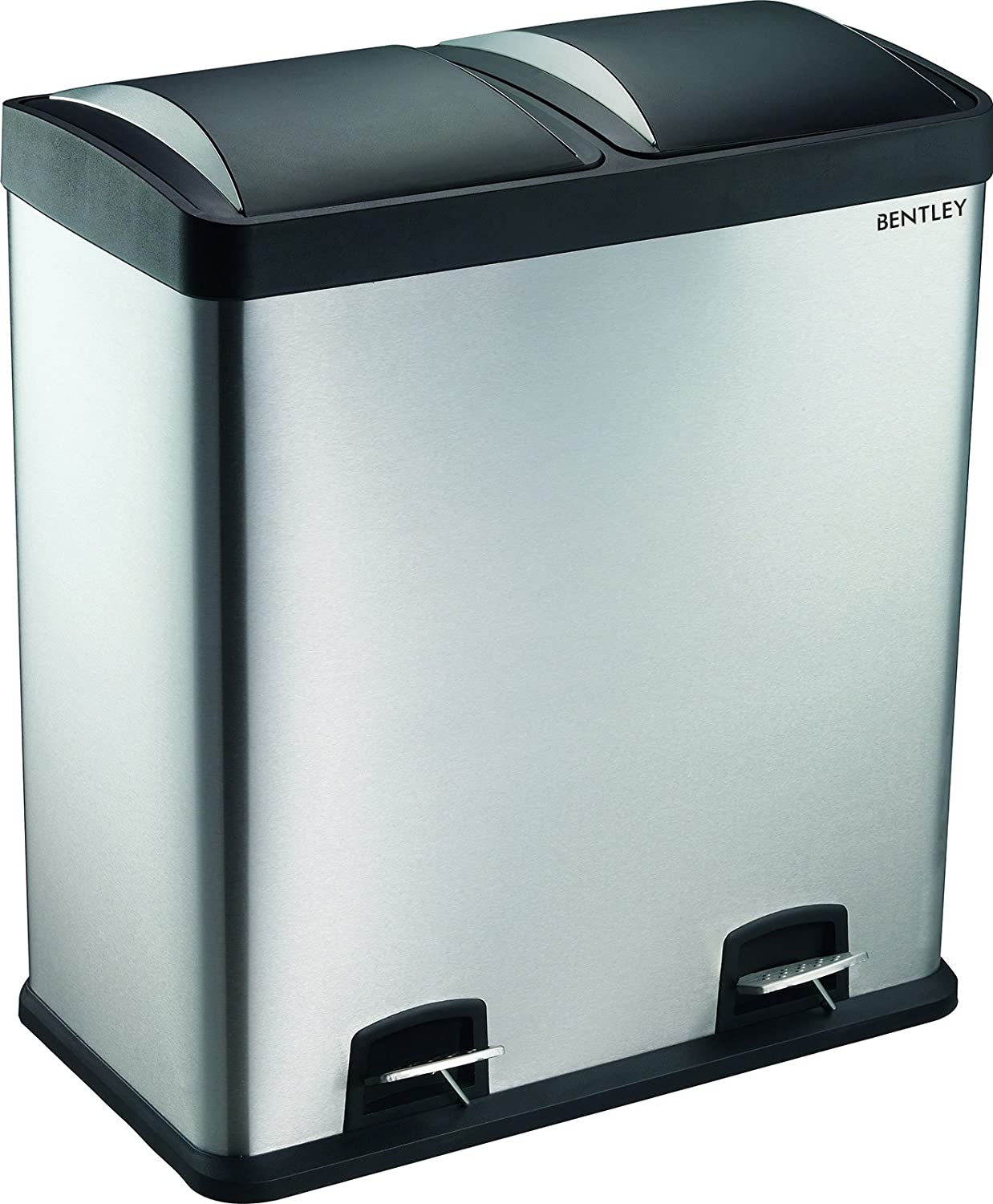 Charles Bentley Premium 60L Stainless Steel Large Kitchen Recycle Waste  Pedal Bin 2 Compartments: Amazon.co.uk: Kitchen U0026 Home