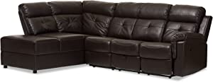 Baxton Studio Oralia Leather 2Piece Sectional with Recliner & Storage Chaise, Dark Brown Faux