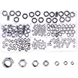 Hilitchi 200pcs M2/2.5/3/4/5/6/8 304 Stainless Steel Hex Nuts Assortment Kit with Box