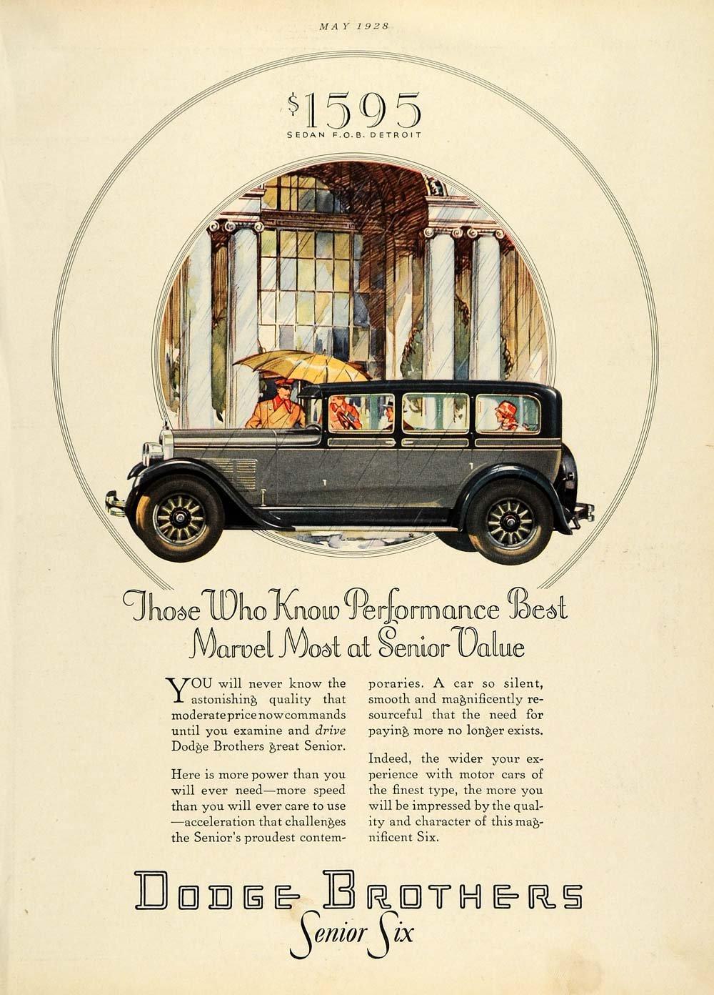 1928 Ad Dodge Brothers Senior Six Automobile Vintage Motor Vehicle Sedan Car  - Original Print Ad: Amazon.co.uk: Kitchen & Home