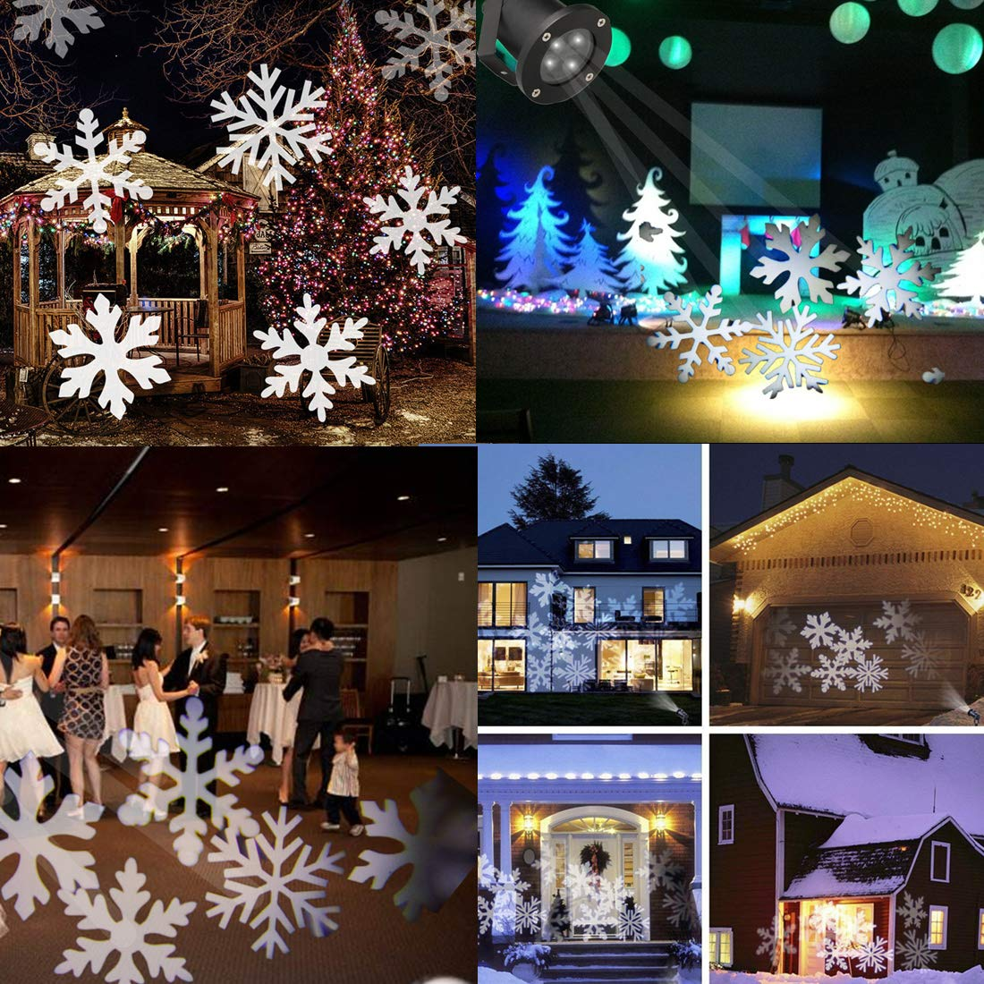 Updated Christams Light Projector Outdoor White 12W Motion Snowflake Landscape Projector Holiday Decoration Waterproof LED Stage Lights for Home Garden(White)