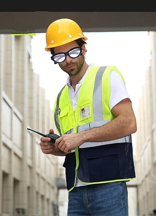 chaleco de protecci/ón de trabajo chaleco de protecci/ón laboral chaleco de seguridad con alta visibilidad Chaleco reflectante de seguridad extra-large negro y amarillo