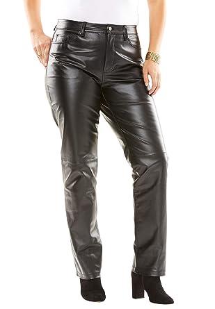f9e5da78735 Jessica London Women's Plus Size Straight Leg Leather Pants