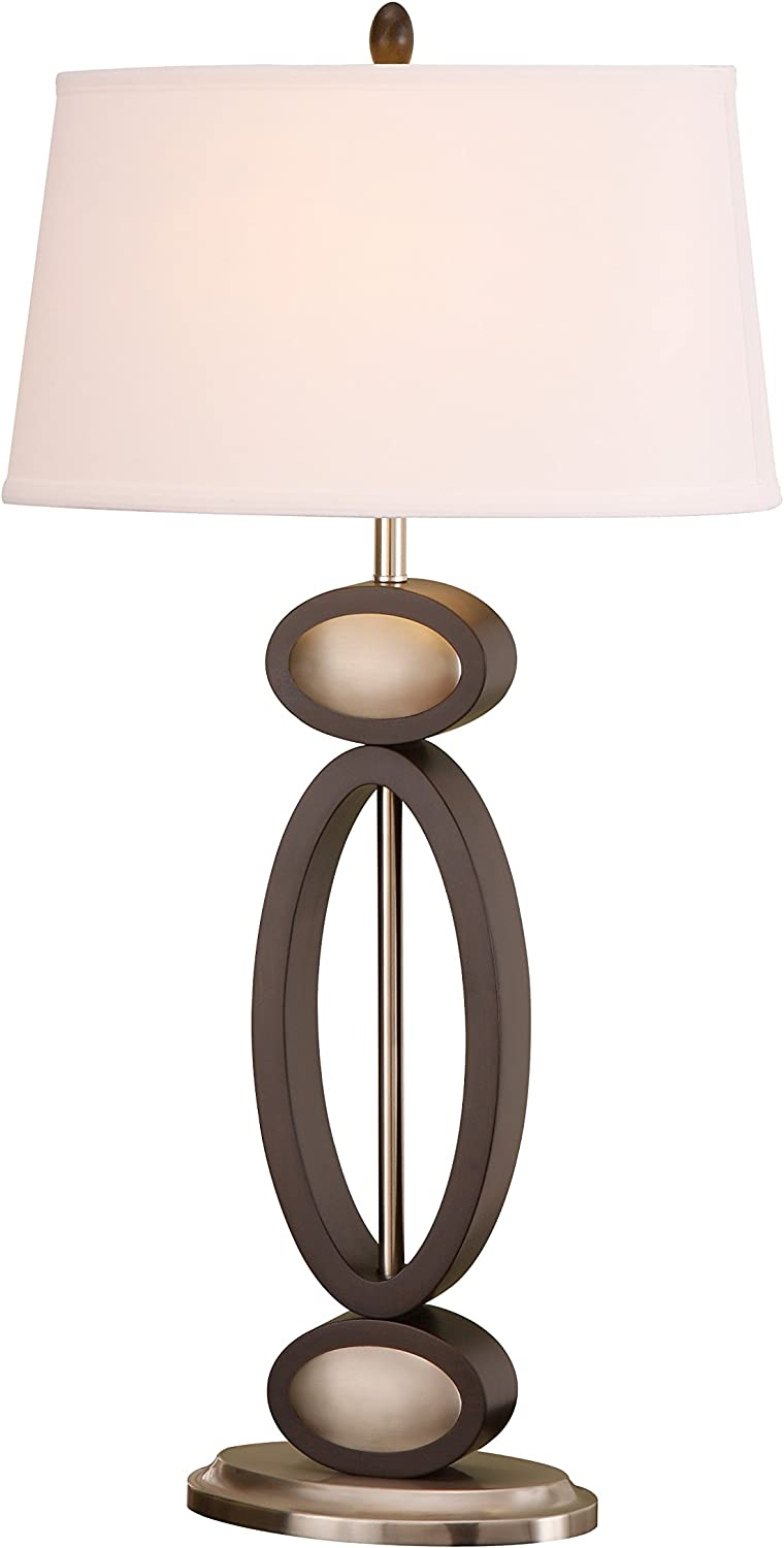 Artiva Usa Infinity Contemporary Design 33 5 Inch Dark Walnut Espresso And Brushed Steel Finished Modern Table Lamp A21106 Home Kitchen