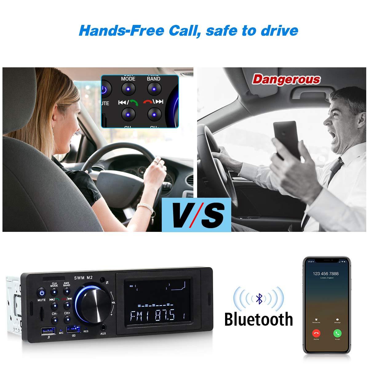 HOMEASY Autoradio Bluetooth Auto Stereo Audio Ricevitore Radio FM Lettore MP3//USB//SD//AUX con Telecomando