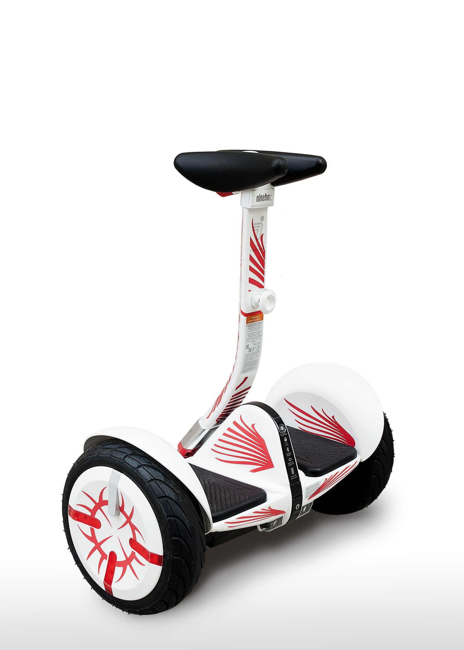 More4Mini Kit for Segway Mini Pro - Flames (Does not Include Segway MiniPro) (White, Knee Controlled Bar)
