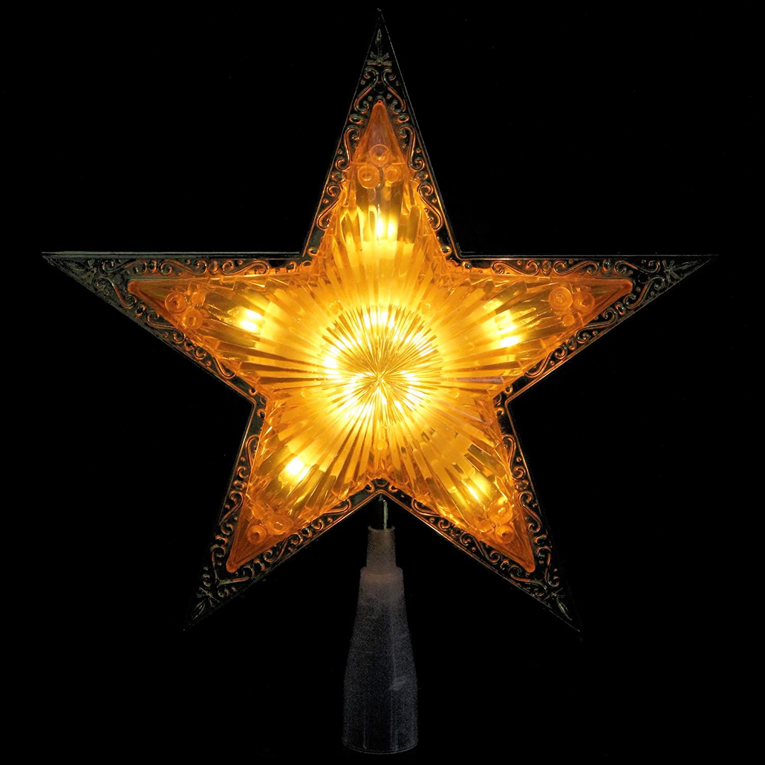 Northlight 9 Lighted Gold Edged Christmas Star Tree Topper Clear Lights