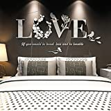 Romantic Wall Stickers,Naladoo 3D Leaf LOVE Wall Sticker Art Decals Wedding Bedroom Decor Couple Love Stylish Removable Painting Poster (White)