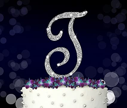 letter t initials happy birthday cake topper wedding anniversary vow renewal