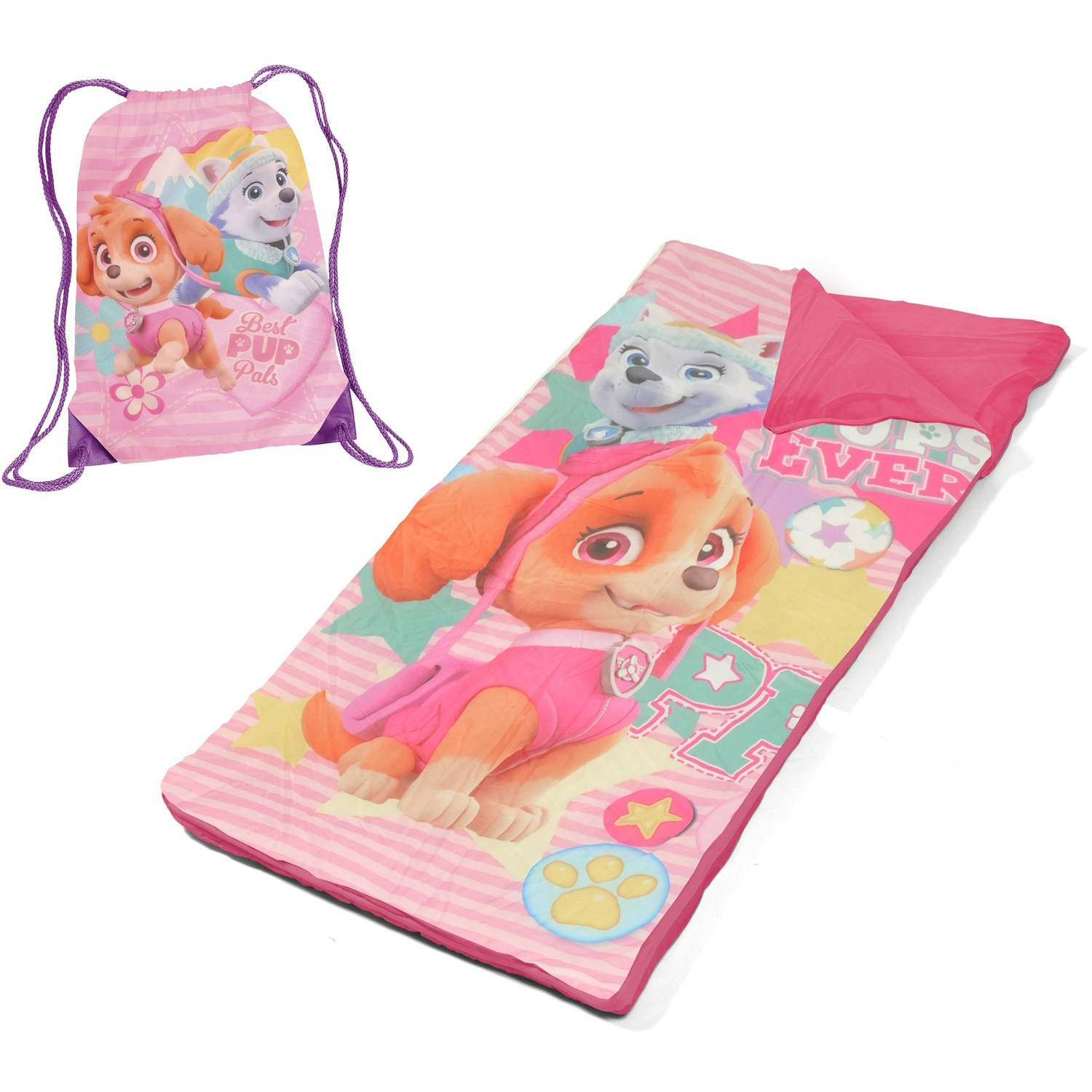 L&M Kids Girls Pink Nickelodeon Paw Patrol Themed Nap Mat Set, Skye Everest Cartoon Characters Cockapoo Husky Puppy Dog Motif Slumber Set, Fuchsia Yellow Green Light Travel Bed Roll, Polyester