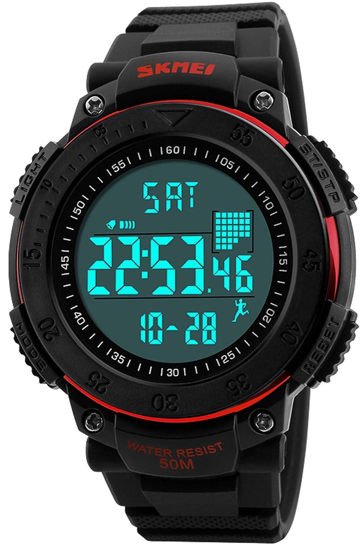 メンズ歩数計カロリーフィットネススポーツデジタル時計防水stowatchブラック B073QN37NR