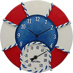 """Taylor Precision Products 91417T Life Preserver 14"""" Poly Resin Clock with Thermometer"""