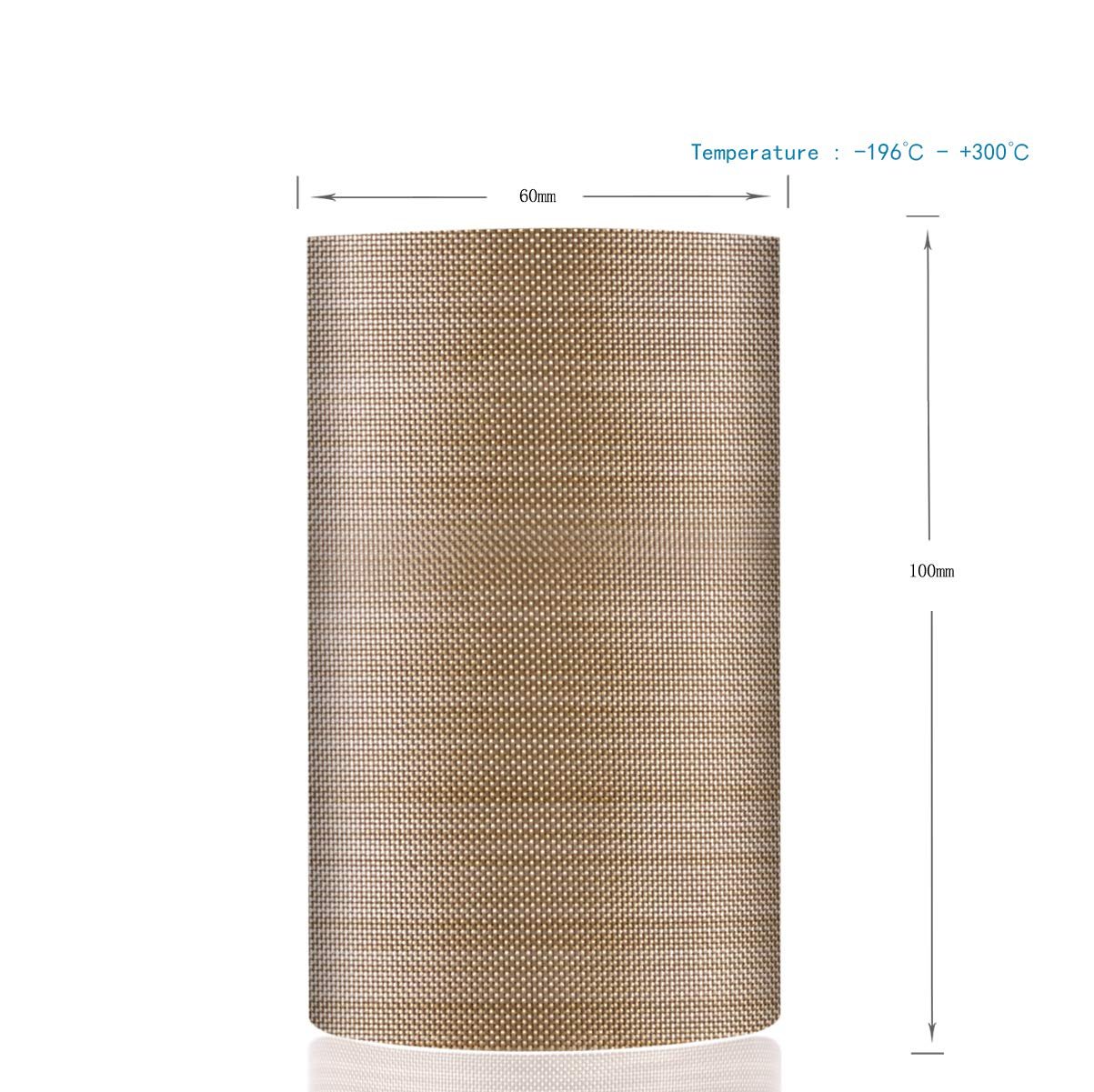 196℃ 48mm x 12yards x 0.18mm, Brown 2 PTFE Coated Fiberglass Teflon Tape Welding Sealing Tape +300℃
